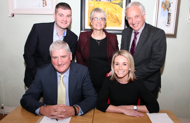 Councillor Colin McGrath, South Down MP Margaret Ritchie, and South Down MLA Sean Rogers, with Cllr Eamonn O'Neill and Laura Devlin, who will step into Cllr O'Neill's role later this month.