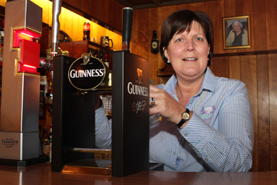 Bringing a coveted title to County Down is Margaret Ferguson at the Lakeside Inn near Downpatrick - joint winner of the Barperson of the Year.