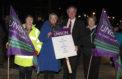 Unison Downe Hospital Branch Secretary Marion Ritchie and Chairperson Sonia Graham with South Down MP Margaret Ritchie and Strangford MP Jim Shannon.