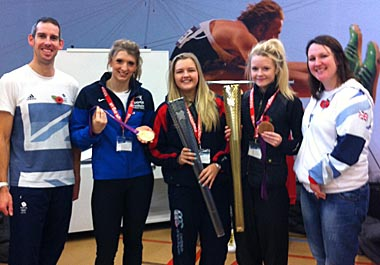 Pictured from left to right are Etienne Stott (London 2012 Gold medallist), Bethany Firth, SERC student and London 2012 Gold medallist, SERC students Jenna Frazer and Olivia Brown and Natalie Jones, London 2012 Bronze medallist.
