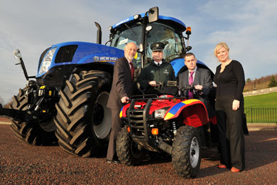 Justice Minister David Ford and Agriculture Minister Michelle O'Neill announced a funding package to encourage farmers in farm theft hotspots across Northern Ireland to fit security devices to their machinery which police can use to locate and recover if they are stolen. Included is Chief Superintendent Brian Kee, the PSNI's agricultural crime officer and James McAleenan from NFU Mutal.  Picture: Michael Cooper