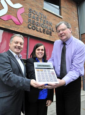 Pictured are SERC staff James Currie Head of School for Business, Hospitality and Tourism, Sandra Roleston Associate Lecturer in Business Management and Colin McKerr, Finance Lecturer.