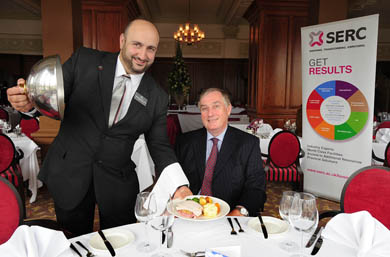 Get Results: SERC is delighted to have collaborated with Hastings Hotels to deliver practical Hospitality training, designed to up skill their staff. Pictured is Hotel Assistant Manager Mohamed Abou Saleh and SERC Principal and Chief Executive Mr Ken Webb.