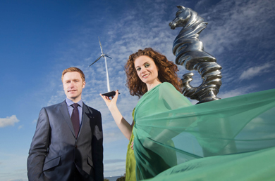 Pictured at the launch of the Awards at the new Belfast Seahorse sculpture is 'Green Goddess' Collette O'Neill and Andrew Ryan from Awards sponsors, Tughans Solicitors. The awards, now in their sixth year, take place in Stormont Hotel on 20th March 2014.
