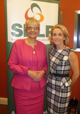 South Down MP Margaret Ritchie with Laura Devlin, Newcastle area constituency manager.