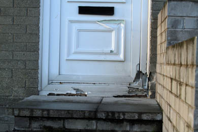 A front door at a house in Shrigley was damaged after a pipe bomb-type attack.