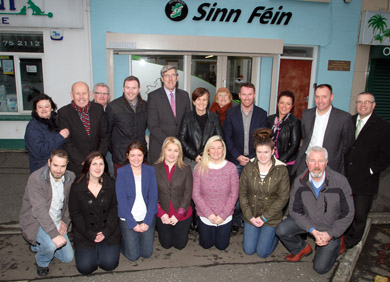 John O'Dowd MLA officially opened up the new Sein FŽinn office in Warrenpoint. Included are MLA's Caitriona Ruane and Chris Hazzard with local councillors, election candidates and office staff.