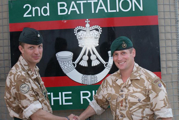 Lt Col Rob Thomson (left) of 2 Rifles takes command of Battle Group (North) from Lt Col Jim Morris of 45 Cdo. in Afghanistan.
