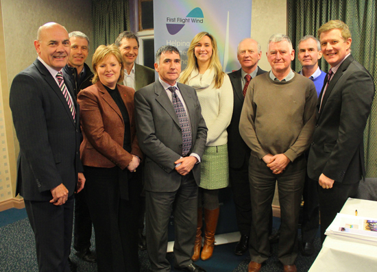 Attendees at the third First Flight Wind Community Stakeholder Panel in Kilkeel included (l-r) Michael Curran, Louth County Council; Nicholas McCrickard, County Down Rural Community Network; Pamela Houston, Kilkeel Development Association; Michael Harper, First Flight Wind; Councillor Harold McKee, Newry & Mourne District Council; Victoria McCabe, First Flight Wind; farmer Edward Carson; Seamus Walsh, County Down GAA; John Smyth, Ardglass Harbour Master; Dr Conor Patterson, Newry & Mourne Co-Operative and Enterprise Agency.