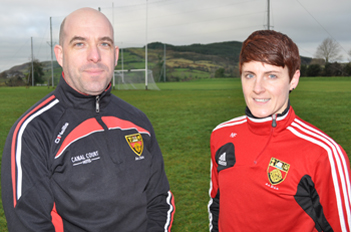 Myles Cahill, Down ladies manager with coach Diane O'Hora.