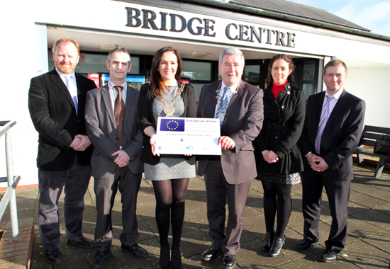 From left, Paul McArtain, Dundalk Institute of Technology, Michael Ferguson,  Aramark, Councillor Maria McCarthy, Down District Council Charperson, Councillor Alan McDowell, Chair of the EBR, Sharon Digby, EBR Development Officer, and Raymond Haughey, Down District Council Energy and Sustainability Officer.