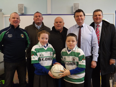 Pictured at the planning meeting are Club Chairman Collie Quinn, vice-Chairman Mal McGrady, RGU Schools Liaison Officer Aidan Robinson and school principals Philip Artherton from St Brigid's and Declan Murray from St Colmcille's along with future stars Cara McKervey and Ethan Breen.