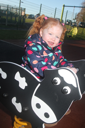 Enjoying the new playpark at Ballymote is young Kiesha McCartan.