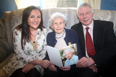Down District Council Chairperson Councillor Maria McCarthy and Rowallene Councillor Robert Burgess wish Bella Bolton a happy hundreth birthday.