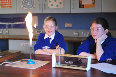 P7 pupils in the Science Room at Blackwater Integrated College.