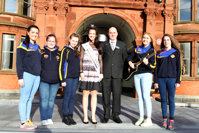 The Rose of Trallee 2013 Hayley O'Sullivan with the Saul Ballad Singers and Hakan Sakalli, Duty Manager at the Slieve Donard Resort and Spa in Newcastle.