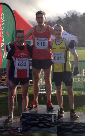 At the International X/C at Greenmount. The 86.2 KB size shows Barrie Atkinson on the winners podium with Peter Neill Omagh Harriers No.641, 2nd and Craig Hutchinson Larne AC No. 633 .after the Masters race.