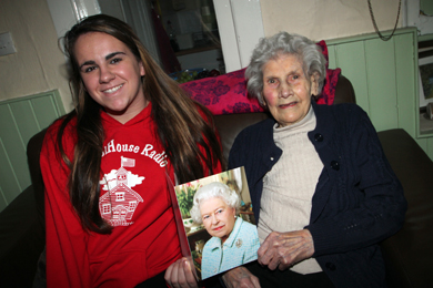 Bella Bolton, who has celebrated her hundreth birthday, is pictured with one of her great grand-children Rachel Kirk who came over from the United States for the birthday celebration.