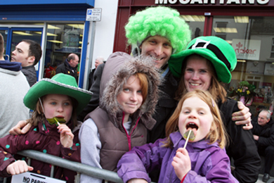 All dressed up for the St Patrick's parade in Downpatrick.