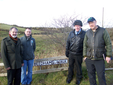 Environmental improvements are planned for Beedham's Lane in Ballynahinch. Pictured are  Cllr Garth Craig, Andrew Steenson, Chairman of the Langley Road Community Association, William Johnston, Vice Chair, and Mark Bryson of Ecoseeds.