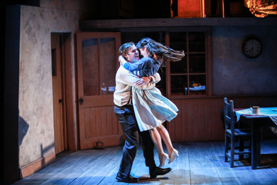 Marion O'Dwyer  playing Lizzy Sweeney gets a hug from Public Gar, Peter Coonan, in Philadephia, Here I Come!