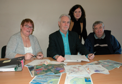 Patricia Curran, Chairperson of Ballyhornan & District Community Association, Ciaran Mackel, ARD Ciaran Mackle Architects, Geraldine McAteer Killard resident, Noel Curran. Director, Ballyhornan and District Community Association.