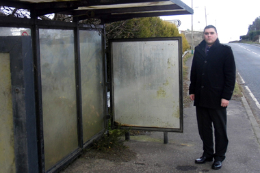 UKIP representative Alan Lewis calls for improvements to bus shelters across Down District.