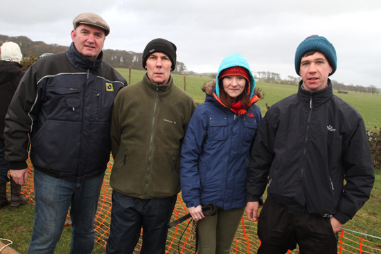 Cathal Mc Govern, owner of Galway Plate winner, Ballyholland, Liam Mc Philemy, rainer, with Joanne and Steven Magee from Strangford at the East Down point-to-point meeting.