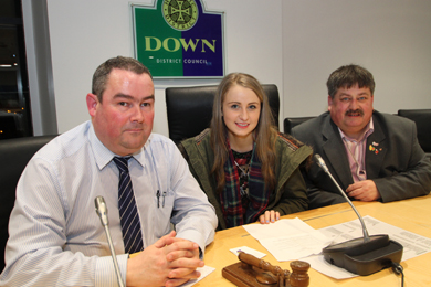 Rowallene Youth Forum Chairperson Molly Rice is in the hot seat at Down District Council with Councillors Terry Andrews and Billy Walker.