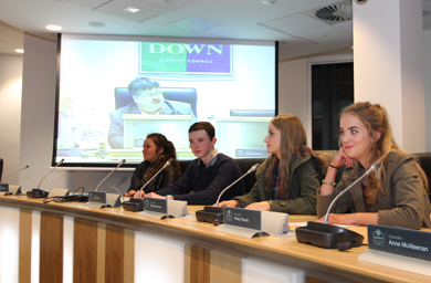 Members of the Youth Forum taking part in a discussion in the council chamber at the Downshire Civic Forum in Downpatrick.