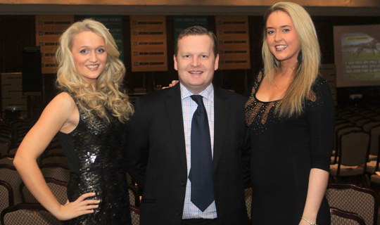 Ronan Graham of SP Graham welcomed the public to the Cheltenham Preview night at the Europa Hotel and included are Lucy Stewart and  Kelly Leigh Anderson.