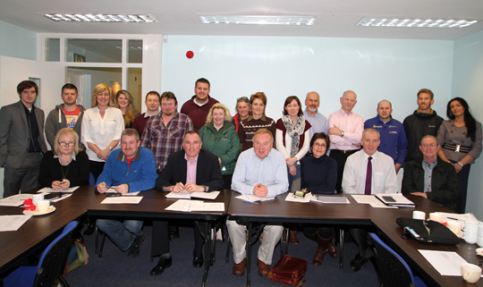 Digital Champion Daryl Conway of Optimise NI with participants in the social media strategy workship held at the Down Business Centre in Downpatrick.