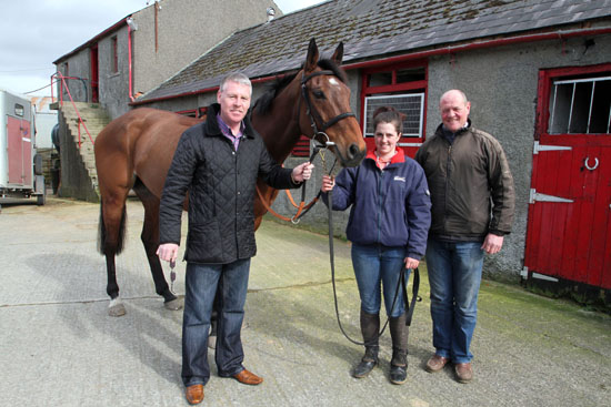 Carsonstown Boy with owner Jim Monaghan and trainer Colin McBratney.