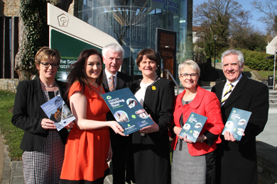 Dette Hughes, East Border Region Programme Manager, Down District Council Chairman Cllr Maria McCarthy, John Carson, Chairman of the Board of the St Patrick Centre, DET Minister Arlene Foster, South Down MP Margaret Ritchie, and John Dumigan, Down Council Chief Executive.