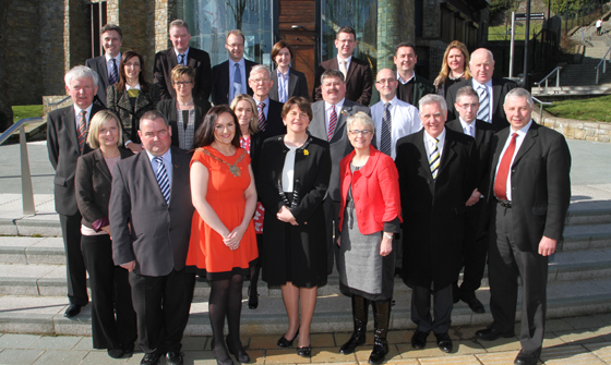 Local public representatives and Down District Council officials and from the EBR, gathered on teh steps of the St Patrick Centre for the launch.
