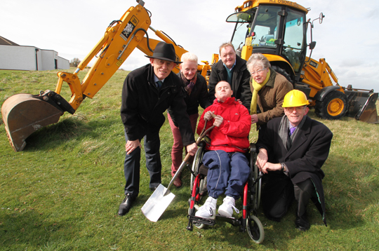 First Sod: At the cutting of the first sod were Owen Gorman, director, Joy McBride, fundraiser, Gordon Kelly, Mainstay DRP client, Mary McCargo, Director, and Dr Paddy  Moore, chairman with Dermot Robinson, client, centre.