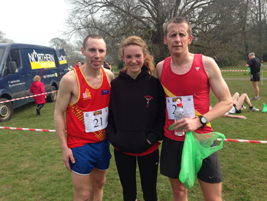Benny Teer, Aoife Cochrane winners of Spring Lakes 10K and 5K races respectively on Sunday and Martin Willcox who also competed in the 10K.
