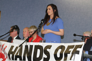 Down District Council Chairperson Maria McCarthy addressing the meeting.