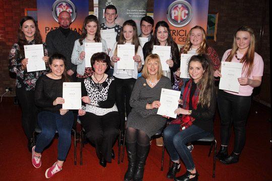 The bronze award winners at the Patrician Youth Centre with Activity Leader Andrew Kelly, Yvonne McKight, Senior Youth Leader and Director of  NI Duke of Edinburgh, Kate Thompson.