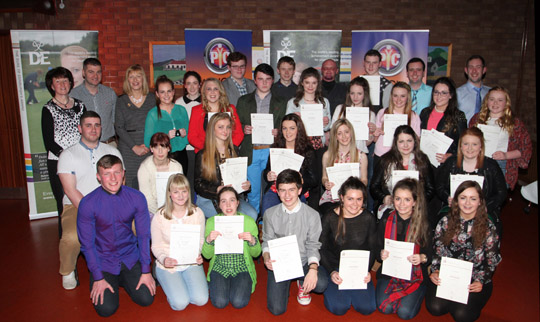 The gold, silver and bronze award winners for the Duke of Edinburgh awards pictured at their presentation. Inlcluded are Yvonne McKnight, Senior Youth Leader, Councillor Colin McGrath, youth worker, Kate Thompson, NI Director of the Duke of Edinburgh and Andrew Kelly, Activity Youth Worker.