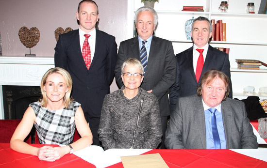 At the SDLP selection convention in the Downshire Arms in Hiltown were, front row, candidates Cllrs Laura Devlin and Brian Quinn with South Down MP Margaret Ritchie, Back Row, candidates Shane King and Mark Murnin with South Down MLA SŽan Rogers.