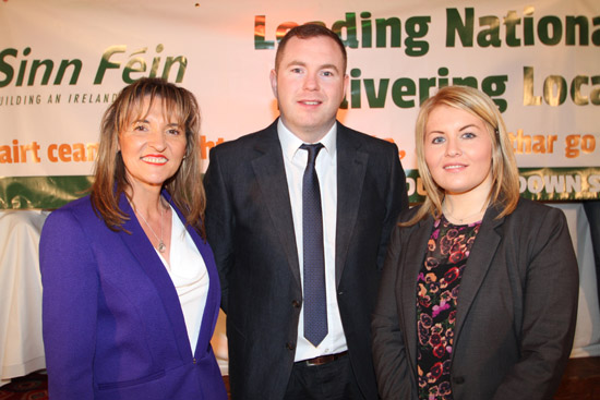 Downpatrick area candidate Naomi Bailie, right, with Martina Anderson MEP and South Down MLA Chris Hazzard pictured at the Sinn FŽin selection convention held in Warrenpoint recently.
