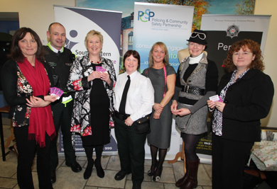 L-R Patricia McMurray, South Eastern Domestic Violence Partnership (SEDVP); Sgt Nigel Donnelly, PSNI; Ellen Brennan, Down PCSP; Constable Veronica Bailie, PSNI;  Lucy MacLaughlin; Jude Graham, Down District Council; and Sheila Simmons, Chairperson SEDVP
