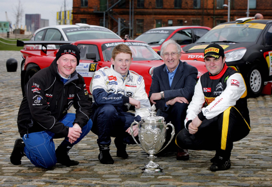 Rally drivers Ashley Dickson, Stephen Wright, Dessie McCartney and Daniel McKenna at the launch of the 2014 Circuit of Ireland Rally which will take place from Thursday 17 April to Saturday 19 April across counties Antrim and Down  (Matt Mackey/Presseye.com)