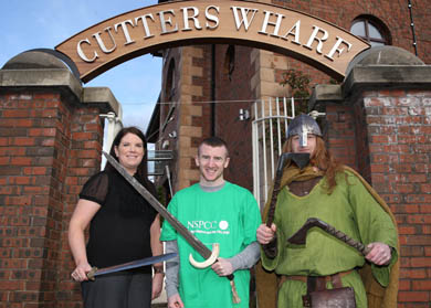 Paddy Barnes, centre, two times Gold olympic boxing medalist with Fionnuals Savage, NSPCC, and an Ardglass Viking ready for the 4 May at Cutter's Wharf.