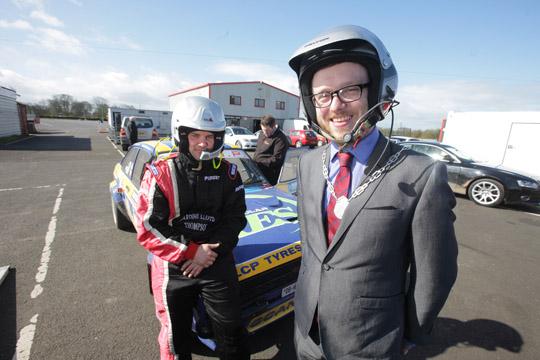 Councillor Gareth Sharvin test drives at Nutts Corner.