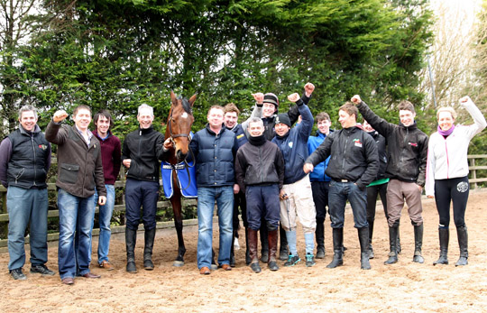 The Larne based Crawford brothers and owners of Hidden Horizons belatedly celebrate victory in the Toals Ulster Grand National at Downpatrick.(Photo by irishracepix)