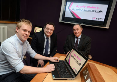 Minister for Employment and Learning Dr Stephen Farry officially launching SERC's new online application and enrolment system with SERC Principal and Chief Executive Mr Ken Webb and Software Developer William Rodgers.
