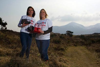 Leigh Chamberlain & Emma McArdle from Action Cancer get set for the Slieve Donard Walk on 10th May 2014.