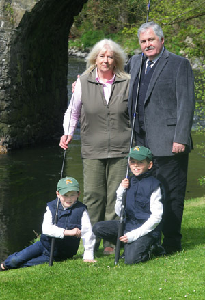 It's a family affair…Albert and Irene Titterington, Directors of Downpatrick-based Great Game Fairs of Ireland, with their grandsons Charlie (7) and Jack (11) Titterington, at the launch of the new Irish Angling Show that will take place alongside the Irish Game Fair at Shane's Castle this June.